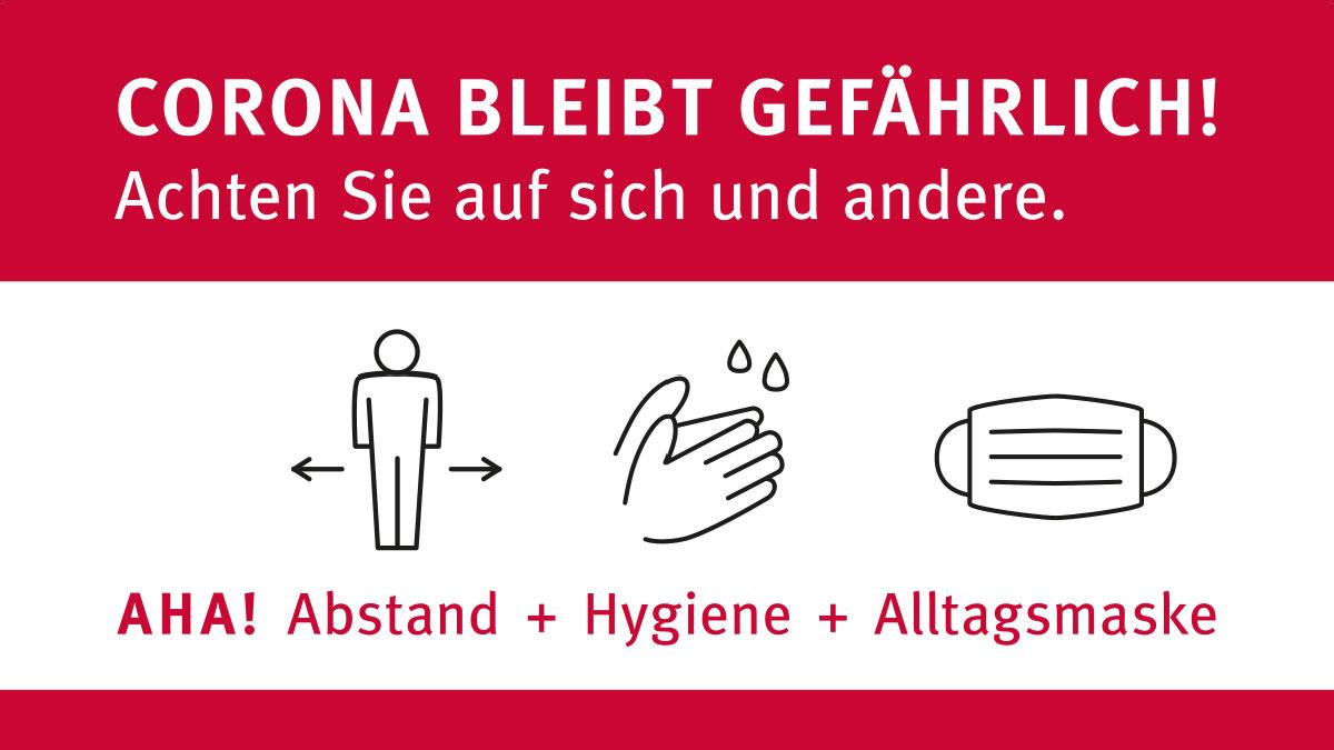 """Um das Thema im Bewusstsein zu halten, will die Stadt Krefeld großformatige Plakate in der Stadt zum Einsatz bringen. """"Corona bleibt gefährlich! Achten Sie auf sich und andere"""", heißt es dort. Beschworen wird die inzwischen allseits bekannte """"Aha!""""-Formel – Abstand, Hygiene, Alltagsmaske."""