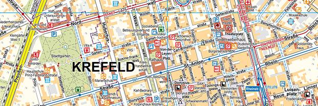 Krefeld Karte.Stadtkarten Stadt Krefeld
